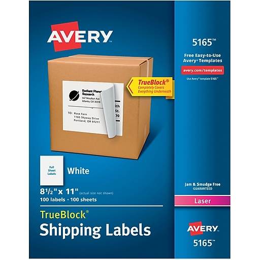 Avery 8 12 X 11 Laser Full Sheet Shipping Labels With Trueblock