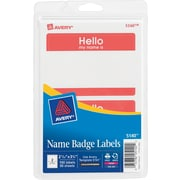 """Avery® Print-or-Write Name Tags, """"HELLO"""" Red Border, 2 11/32"""" x 3 3/8"""""""