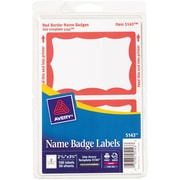 "Avery® Print-or-Write Name Tags, Red Border, 2 11/32"" x 3 3/8"""