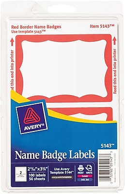 Avery® Print-or-Write Name Tags, Red Border, 2 11/32
