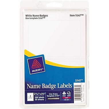 Avery 5147 printable self adhesive name tag label white border 2 avery name badge labels for inkjet and laser printers 2 labels per sheet white sciox Choice Image