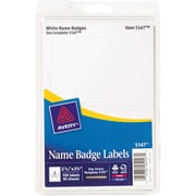 "Avery Name Badge Labels for Inkjet and Laser Printers, 2 Labels Per Sheet, White, 2 11/32"" x 3 3/8"", 100/Pk"