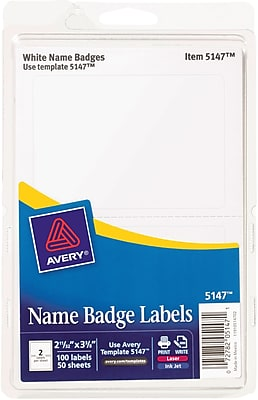 Avery Name Badge Labels for Inkjet and Laser Printers, 2 Labels Per Sheet, White, 2 11/32