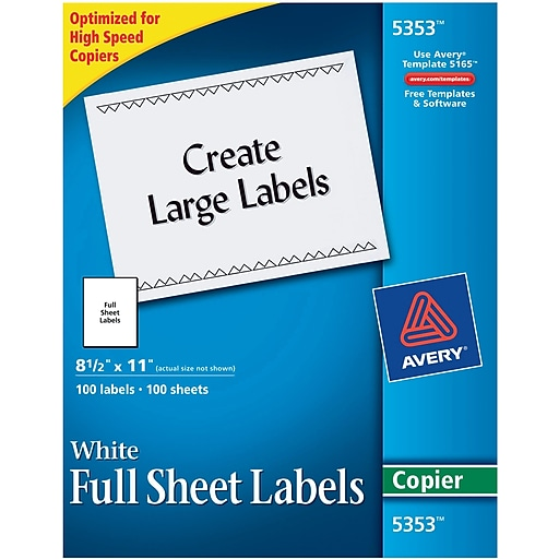 avery 5353 white copier full sheet shipping labels 8 1 2 x 11