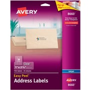 Avery® Easy Peel® Inkjet Address Labels, Clear, 750/Box (8660)