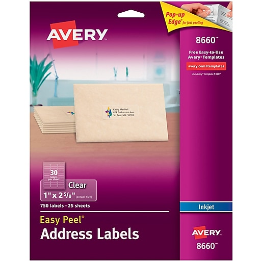 Avery 1 X 2 58 Inkjet Address Labels With Easy Peel Clear 750