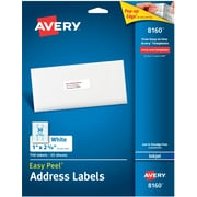 "Avery Inkjet Address Labels with Easy Peel, 1"" x 2-5/8"", White, 750/Pack (08160)"