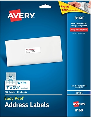 Avery Inkjet Address Labels with Easy Peel, 1