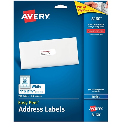 Avery 1 X 2 58 Inkjet Address Labels With Easy Peel White 750