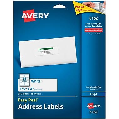 Avery® 8162 White Inkjet Address Labels with Easy Peel®, 1-1/3