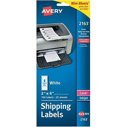 avery 2163 mini sheets white inkjetlaser shipping labels 2 x 4 100box