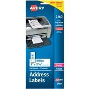 "Avery® 2160 Mini-Sheets™ White Inkjet/Laser Address Labels, 1"" X 2-5/8"", 200/Box"