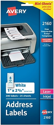 Avery® 2160 Mini-Sheets™ White Inkjet/Laser Address Labels, 1