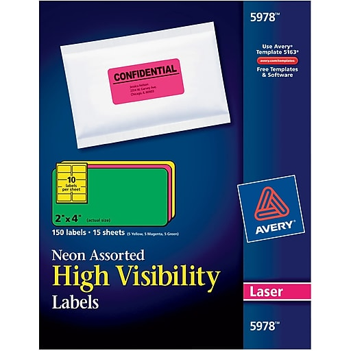 Avery 2 X 4 Laser Shipping Labels Assorted Neon Colors 150box