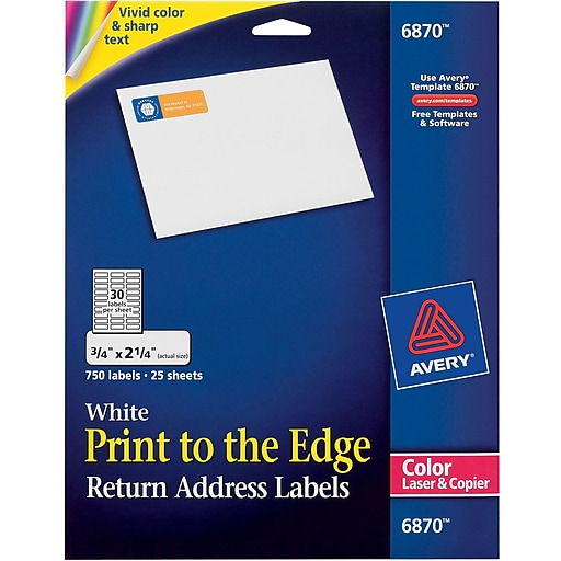 Avery Color Printing Matte White Laser Return Address Labels - Copier labels template