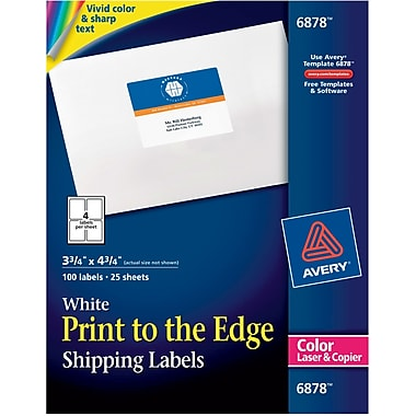 AveryR 6878 Color Printing Matte White Laser Shipping Labels 3 4