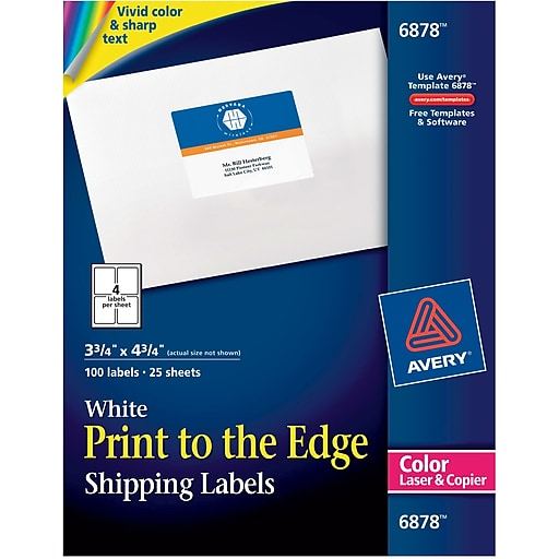 avery 6878 color printing matte white laser shipping labels 3 3 4