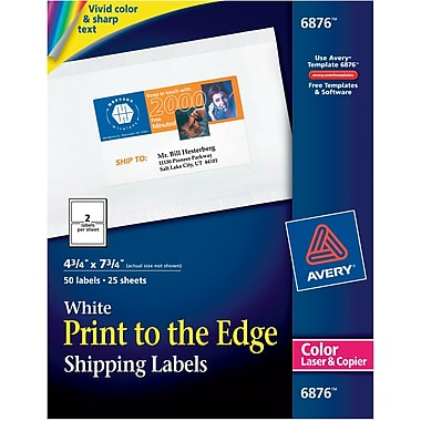 AveryR 6876 Color Printing Matte White Laser Shipping Labels 4 3