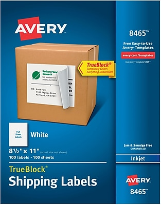 Avery® 8465 White Inkjet Full Sheet Shipping Labels with TrueBlock™, 8-1/2
