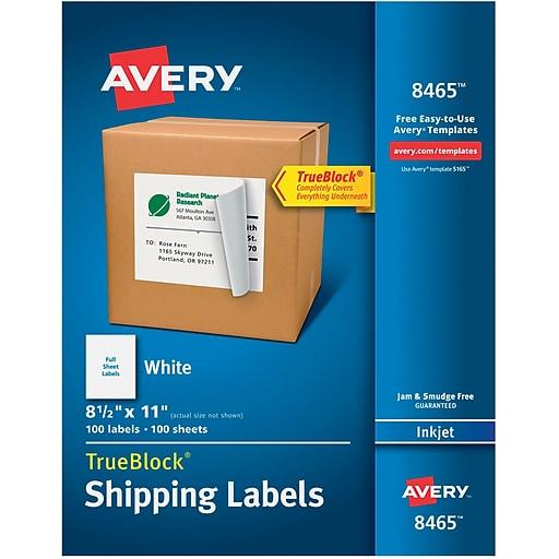 avery 8465 white inkjet full sheet shipping labels with trueblock