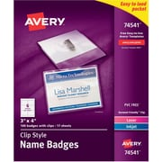 Avery Top Loading Clip Style Name Tags, 3 inch x 4 inch , 100 Per Pack by