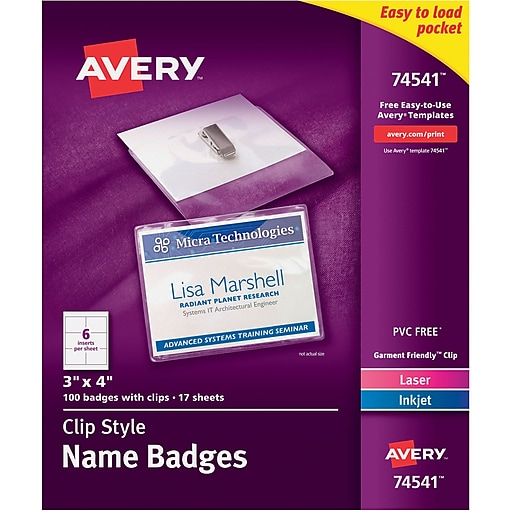 avery top loading clip style name tags 3 x 4 100 pack staples