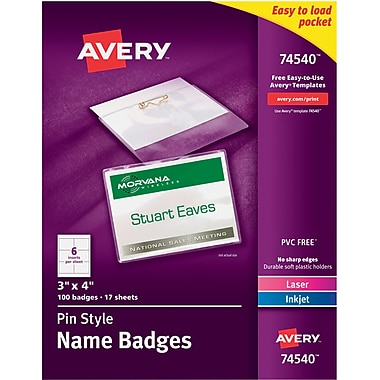 Avery® 74540 Top-Loading Pin-Style Name Badges, 3