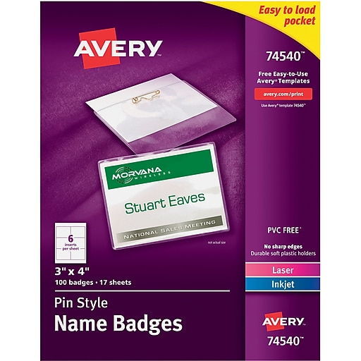 avery 74540 top loading pin style name badges 3 x 4 100 pack
