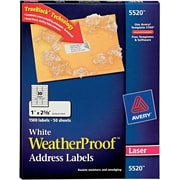 "Avery Laser WeatherProof Address Labels, 1"" x 2-5/8"", White, 1500/Box (5520)"