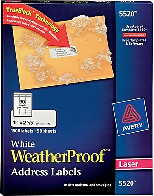 Avery Laser WeatherProof Address Labels, 1