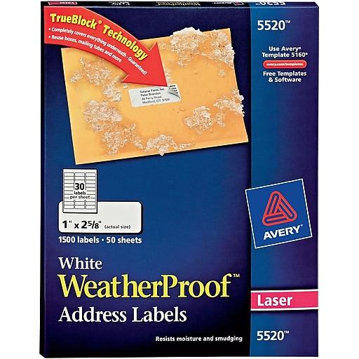 Avery White Weatherproof Address Labels 1 X 2 58 1500box