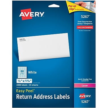 Avery® 5267 White Laser Return Address Labels with Easy Peel®, 1/2