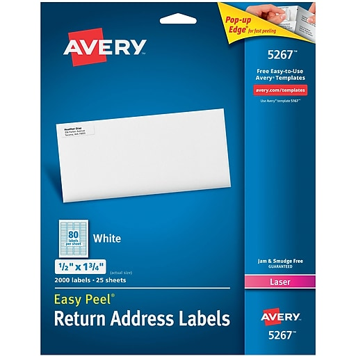 Avery 5267 White Laser Return Address Labels With Easy Peel 12