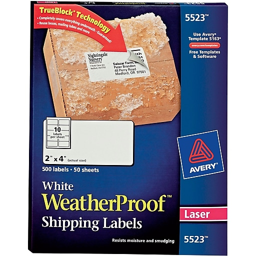avery laser weatherproof shipping labels 2 x 4 white 500