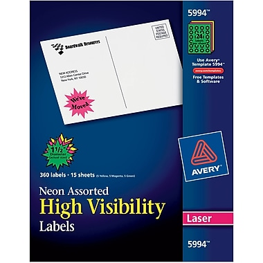 Avery® 5994 Neon Laser Burst ID Labels, 1-1/2