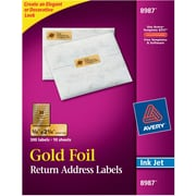 "Avery® 8987 Gold Foil Inkjet Return Address Labels, 3/4"" x 2-1/4"", 300/Box"