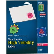 """Avery® 5995 Neon Laser Burst ID Labels, 2-1/4"""", Assorted Colors, 180/Box"""
