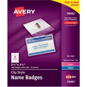 Avery Top Loading Clip Style Name Tags, 2 1/4 inch x 3 1/2 inch  by