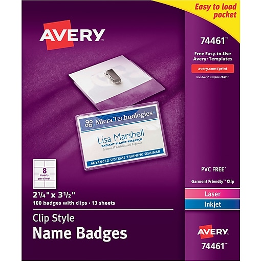 avery top loading clip style name tags 2 1 4 x 3 1 2 staples