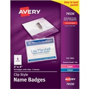 """Avery® 74536 Garment-Friendly Clip-Style Name Badges, White, 3"""" x 4"""", 50/Pack"""