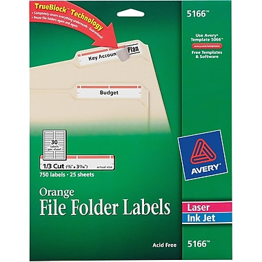 Avery labels 30 per sheet avery 5166 orange permanent file folder labels with trueblocktrade pronofoot35fo Images