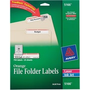 Avery® 5166 Orange Permanent File Folder Labels with TrueBlock™, 750/Pack