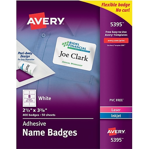 avery self adhesive name tag labels white 2 1 3 x 3 3 8 400 pack