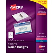"""Avery® Top Loading Clip Style Name Tags, 3"""" x 4"""""""