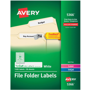 Avery Permanent File Folder Labels with TrueBlock, White, 1,500/Pack (5366)