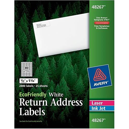 Avery 48267 Ecofriendly White Inkjetlaser Return Address Labels 1