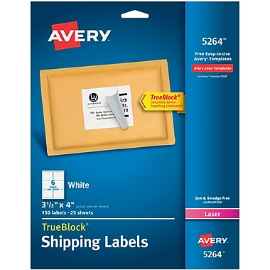 Avery 3 13 x 4 laser shipping labels with trueblock white avery 3 13 pronofoot35fo Images