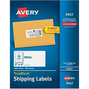 Avery® 8463 White Inkjet Shipping Labels with TrueBlock™, 2