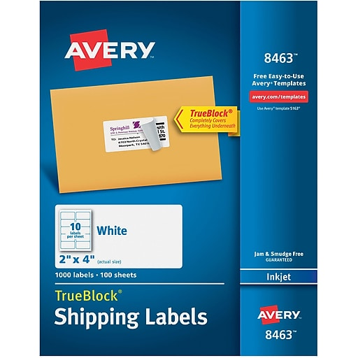 Avery 8463 White Inkjet Shipping Labels With Trueblock 2 X 4