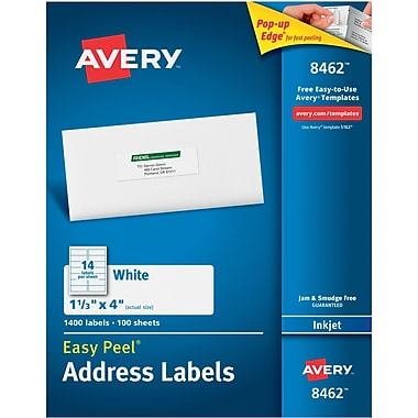 Avery® 8462 White Inkjet Address Labels with Easy Peel®, 1-1/3
